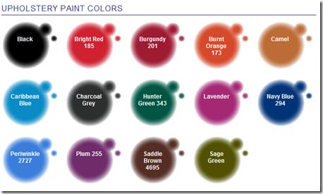 Upholstery Spray Colour Chart